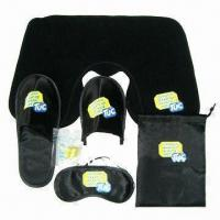 Wholesale 4pcs Portable Necessary Black Satin Toiletry Travel Set, Includes Pillow, Eyeshade, Slippers, Pouch from china suppliers