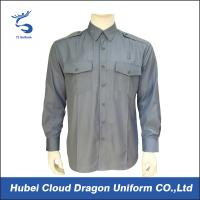 Wholesale Light Blue Poplin Military Tactical Shirts 65% Poly 35% Cotton With7 Button Placket from china suppliers