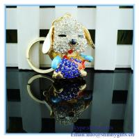 Wholesale Handmade enamel dog shape with diamond new metal keychain from china suppliers