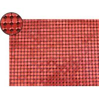 A piece of metallic fabric cloth with 4mm octagon shape and red color.