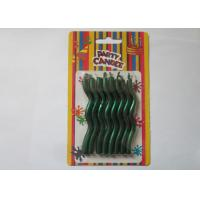 Wholesale Matallic Green Glossy Decorative Christmas Candles Wave Shaped 8.2CM Height from china suppliers