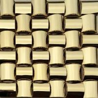 Wholesale Golden 3D Arched Metallic Mosaic Tiles Trim Stainless Steel Laminate Backsplash from china suppliers