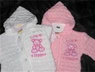 Wholesale Beautiful Pink Angel knitting baby cardigan Anti - Pilling with crocheted flower from china suppliers