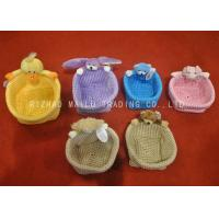 Wholesale Colorful Crochet Storage Basket With Plush Animals Handles , Crochet Easter Basket from china suppliers