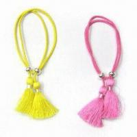 Wholesale Cord Bracelet, Made of Cotton Cord and Metal Bead, with Handmade Process from china suppliers