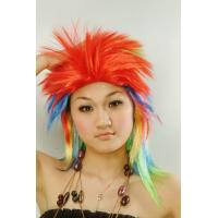 Wholesale Custom Women Colorful Synthetic Crazy Carnival Party Sports Fan Wigs from china suppliers