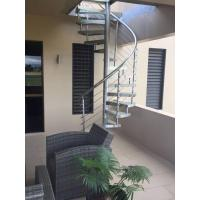 Wholesale Outdoor Spiral Staircase with Glass Tread and Stainless Steel Railing from china suppliers