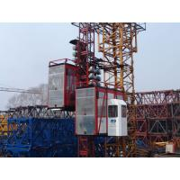 Wholesale Red Construction Material Hoists Twin Cage , Electric Ladder Lift from china suppliers