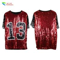 Wholesale Red Black Plus Size Party Womens Sequin Clothing Round Neck Elbow Sleeve from china suppliers