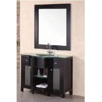 "Wholesale 35"" Single Glass Top Wooden Bathroom Vanity Cabinet Espresso Color  (58191) from china suppliers"