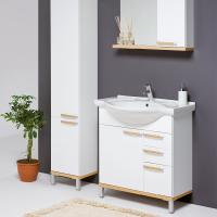 Buy cheap PPW-338 Lacquer modern PVC double sink round bathroom vanity base cabinet from wholesalers