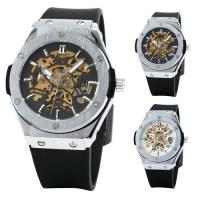 Wholesale Skeleton Mechanical Mens Automatic Watch Winner , Black Rubber Watch  from china suppliers