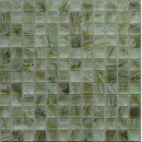 Quality Decorative Glass Kitchen Mosaic Wall Tiles, Yellow Glass Mosaic Tiles For Fireplace for sale