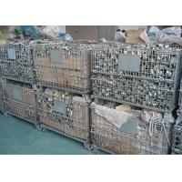 Wholesale Galvanized Wire Mesh Pallet Cage , Stackable Collapsible Pallet Cages Foldable from china suppliers