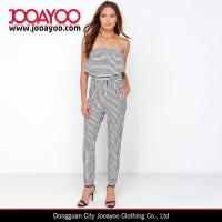 Wholesale Black and White Striped Strapless Jumpsuit with Long Relaxed Pant Legs from china suppliers