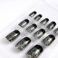 Wholesale Glitter French Manicure Fake Nails professional with Black printing from china suppliers