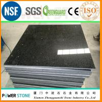Quality Pure Black Engineered Quartz Stone Cut to Size Tile for sale