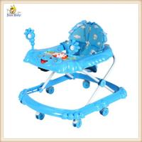 Wholesale Adjustable Backrest Sit In Rolling Baby Walker Blue Cartoon Elephant Style from china suppliers