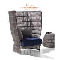 Wholesale Classical Rattan Uhpholstered Hotel Lobby Sofa With Cushion Durable from china suppliers