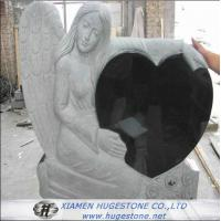 Wholesale Carved Angel Embrace Black Heart Shape Granite Tombstone, Shanxi Black  from china suppliers