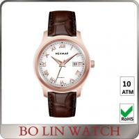 Wholesale Fancy Roman Numbers Genuine Leather Watches For Diver IP Rose Gold from china suppliers