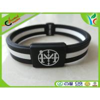Wholesale Double Layer Silicone Wrist Bracelet Red / Green / Black Eco-fridendly from china suppliers