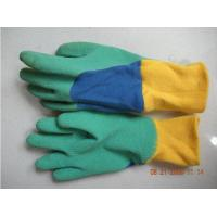 Wholesale Waterproof Wrinkle Finish Green Latex Coated Kid Gardening Gloves With Knitting Wrist from china suppliers