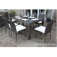 Wholesale 100% Handmade Wicker Dining Set 7pcs With Parasol Hole Outdoor Furniture for Home from china suppliers