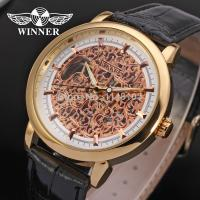 Buy cheap Winner Fashion Mens Wrist Watches Leather Strap Mechanical Aad Stainless Steel Clasp from wholesalers