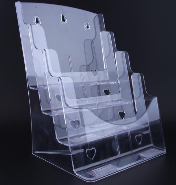 A4 4 pocket acrylic brochure holderleaflet stands plastic for Plastic flyer stand