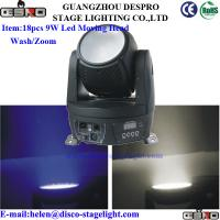 Wholesale Zoom 18pcs*9W Led Moving Head Wash Light RGBW For DJ Nightclub from china suppliers