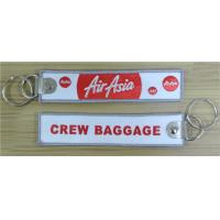 Wholesale Air Asia Crew Baggage Traditional Key Chain Luggage Tag Zipper Pull Fabric Embroidery Keychain from china suppliers