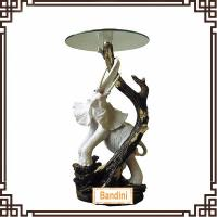 Wholesale New stylish polyresin elephant table with tempered glass top G009 from china suppliers