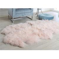 Pink Curly Hair Extra Large Sheepskin Rug Comfortable Anti Shrink For Home Floor