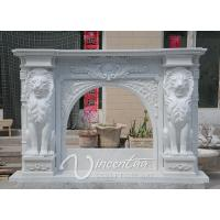 Wholesale Hand Carved Natural White Marble Fireplace Mantel with Lion Statues and Flower Carvings from china suppliers