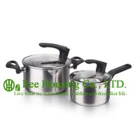 Wholesale 2 pieces stainless steel cooking cookware including fry pan and soup pot and milK pot from china suppliers