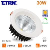 Wholesale ETRN Brand CREE COB LED 6 inch 30W Dimmable LED Downlights Ceiling Lights Recessed lights from china suppliers