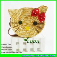 Wholesale LUDA 2016 fashion cute girls wheat straw hello kitty beach handbag from china suppliers