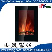 """Wholesale 23""""Black Flat Tempered Glass Standing Wall Mounted Electric Fireplace Heater(Pebbles/log Fuel) LED flame effect EF490L from china suppliers"""