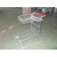 Wholesale Warehouse cargo plat form trolley with top folding basket and 4 swivel flat casters from china suppliers