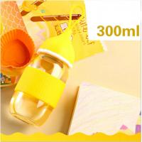 Wholesale Free BPA Newborn Baby Glass Water Bottle For Girls With Silicone Handle from china suppliers