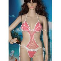 Wholesale One Piece High Cut Sexy Hollow Out Girls Bikini Swimming Wear , Pink With White Edge from china suppliers