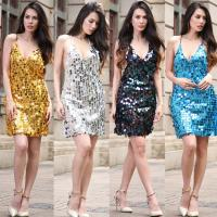 Wholesale wholesale embroidered  golden sequin sexy slip dress polyester beaded dress without back from china suppliers