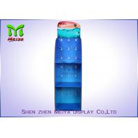 Wholesale Blue Cosmetic Pos Cardboard Hook Display Stand With 3 Shelves , Cmyk Offset Printing from china suppliers