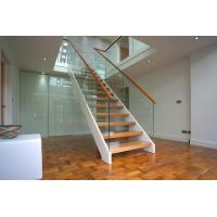 Wholesale Wooden Straight Staircase Design With Glass Railing for Residence from china suppliers