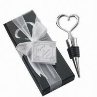 Wholesale Heart-shaped zinc alloy bottle stopper in PVC box with thanking card and ribbon (wedding gift) from china suppliers