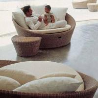 Wholesale Wicker round bed with stool set in round polyresin rattan weaving, hotel/outdoor/patio from china suppliers