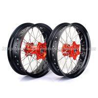 Wholesale Anodized 17 Inch Motorcycle Wheels , Black Spoked Motorcycle Wheels For Harleys from china suppliers