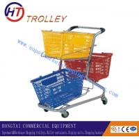 Wholesale Zinc Plated Supermarket Double Layer Shopping Trolley with Two Plastic Baskets from china suppliers