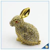 Wholesale Handcraft Metal Rabbit Shape Trinket Box Full Of Rhinestone Lucky jewelry Box SCJ688-1 from china suppliers